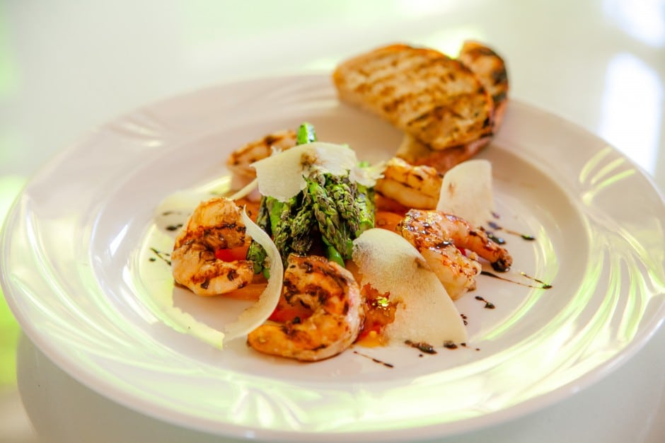 Food and Wine at Harrison House - Grilled Shrimp and parmesan Salad