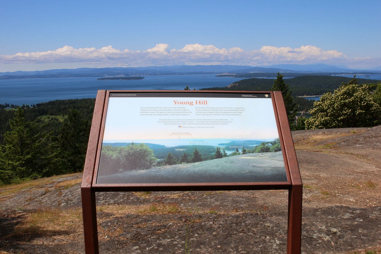 Young Hill views and sign